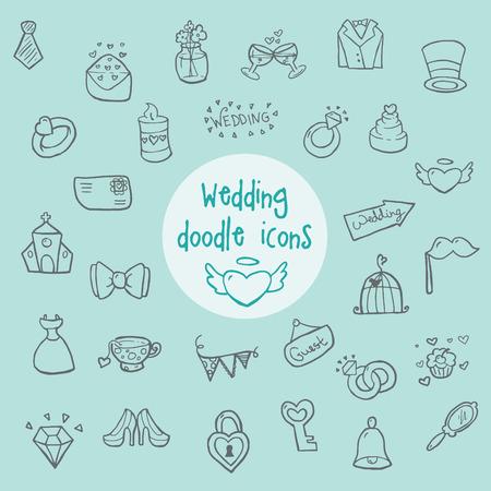 anillos boda: Boda - iconos del doodle