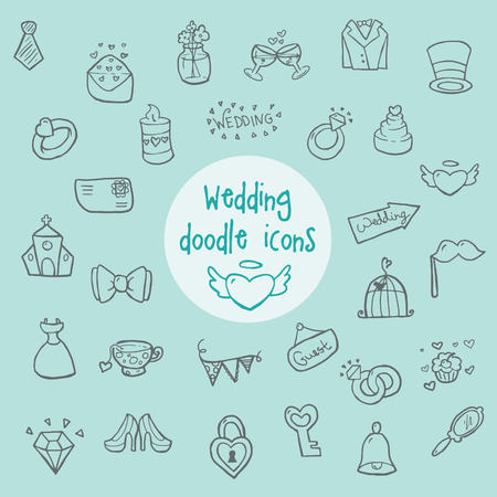 heart in hand: Wedding - doodle icons