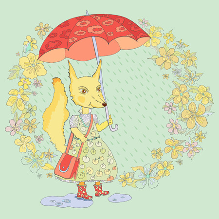 rubber boots: Fox in rubber boots under the umbrella on floral background.