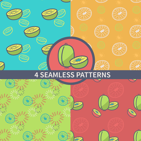 topical: Set seamless retro pattern of topical fruit. The design of the kiwi and motives kiwi packaging, textiles, paper. Vector illustration Illustration