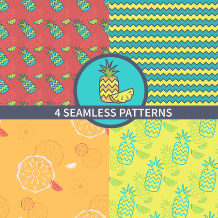 topical: Set seamless retro pattern of topical fruit. The design of pineapple and pineapple motifs for packaging, textiles, paper. Vector illustration