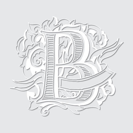 Baroque letters with shadow of the alphabet in upper case letters on a white background. Letter B. Vector illustration