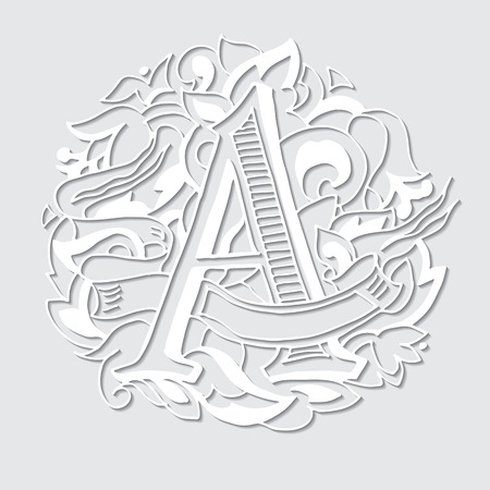 upper case: Baroque letters with shadow of the alphabet in upper case letters on a white background. Letter A. Vector illustration Illustration