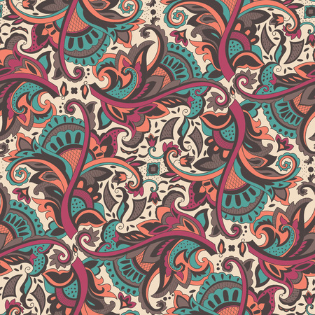 Paisley seamless pattern for design of packaging, paper and textiles. Vector illustration Vector