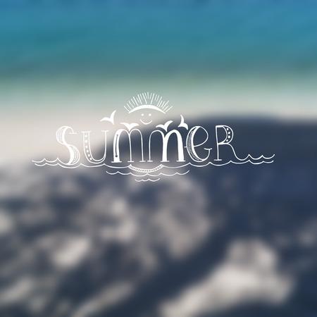 happy summer: Summer hand drawn lettering on blurred background. Happy Summer. Vector illustration