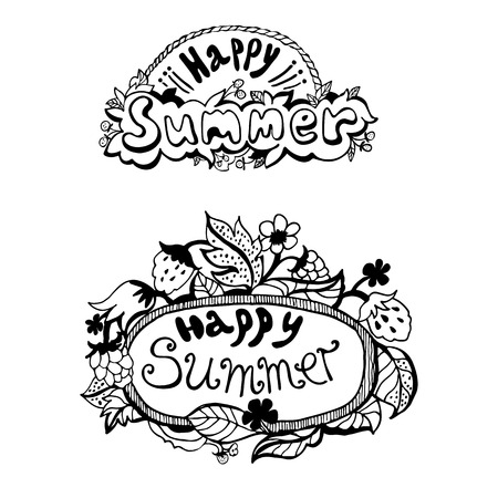 happy summer: Summer hand drawn lettering on a white background. Happy Summer. Vector illustration Illustration