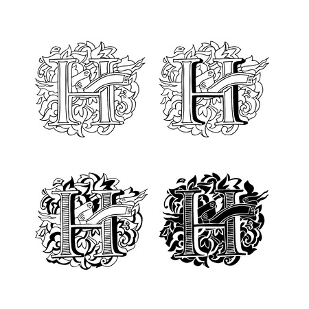 upper case: Baroque letters of the alphabet in upper case letters on a white background. Letter H. Vector illustration