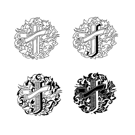 upper case: Baroque letters of the alphabet in upper case letters on a white background. Letter J. Vector illustration