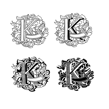 upper case: Baroque letters of the alphabet in upper case letters on a white background. Letter K. Vector illustration Illustration