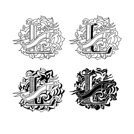 Baroque letters of the alphabet in upper case letters on a white background. Letter L. Vector illustration