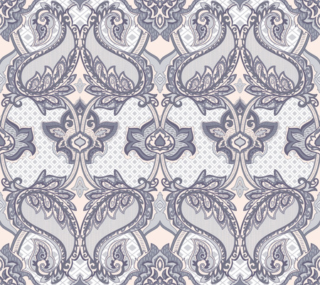 taupe: Baroque Paisley seamless pattern for design of packaging, paper and textiles. Vector illustration Illustration