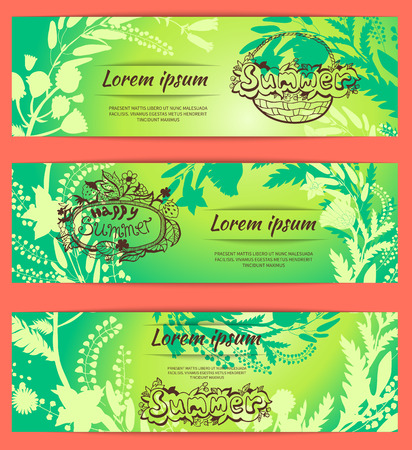 lemon grass: Set of template summer design posters, invitations and banners on floral background of wildflowers. Vector illustration