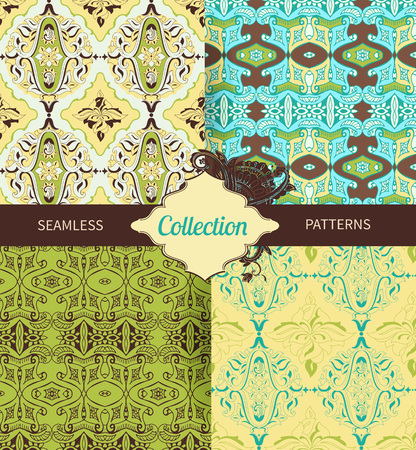 decoupage: Set vintage seamless pattern for design of packaging, paper, textiles and decoupage. Vector illustration