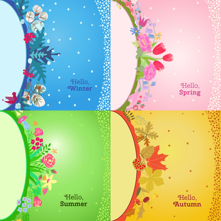 four poster: Four seasons card.  Spring, summer, autumn, winter design. Concept seasons greeting and holiday card. Vector illustration
