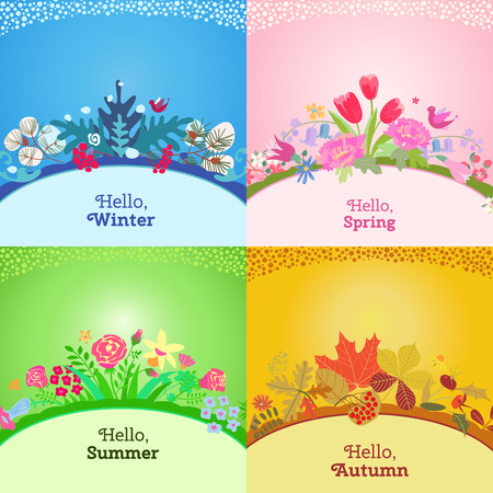 spring summer: Four seasons card.  Spring, summer, autumn, winter design. Concept seasons greeting and holiday card. Vector illustration