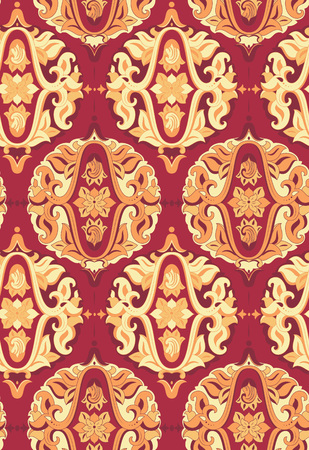 decoupage: Damask vintage seamless pattern for design of packaging, paper, textiles, scrapbooking and decoupage. Baroque pattern. Gold and red seamless pattern. Vector illustration