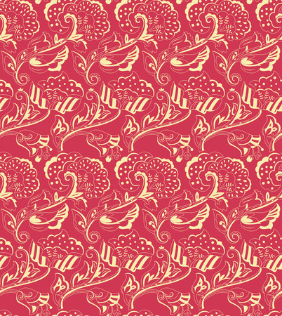 brocade: Floral vintage seamless pattern for design of packaging, paper, textiles, scrapbooking and decoupage. Vector illustration