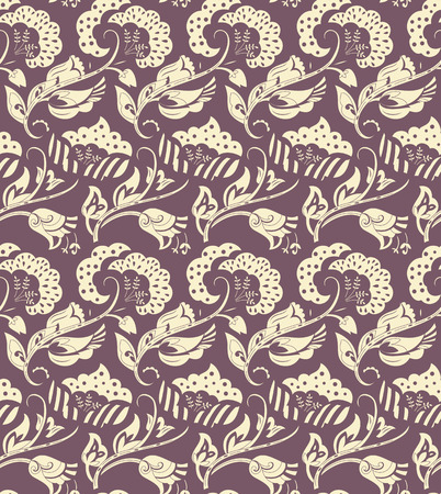 decoupage: Floral seamless pattern for design of packaging, paper, textiles, scrapbook and decoupage. Vector illustration
