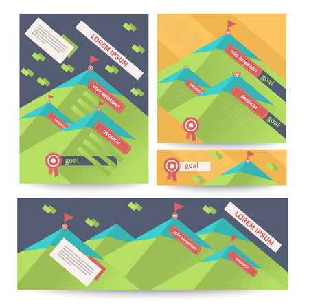 achieve goal: Flat design letterheads and banners. To achieve the goal; competition and success. Vector illustration Illustration