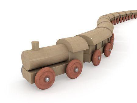 play time:  Arrival of wooden locomotive