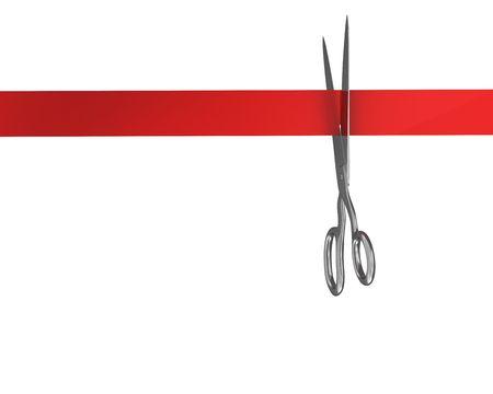 schneiden: Schere schneiden die Ribbon-Draufsicht  Lizenzfreie Bilder