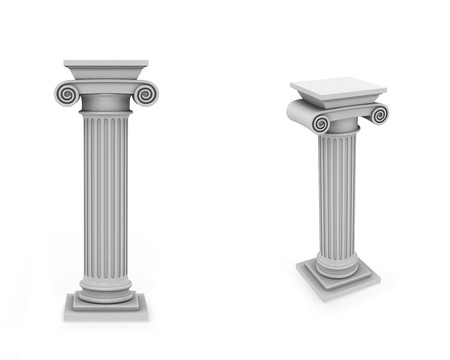 pillar: Marble columns frontal and diagonal view