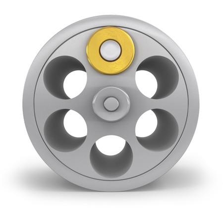 cilindro: Cilindro de revólver con una bala
