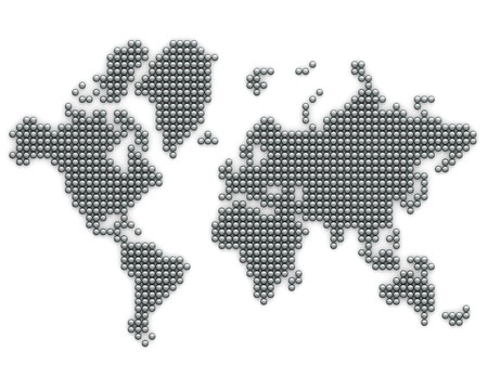 silver balls: Continents made from silver balls