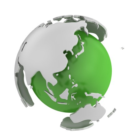 gyration: Abstract green globe, Asia