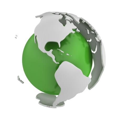 gyration: Abstract green globe, America  Stock Photo