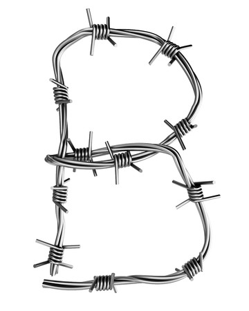 Barbed wire alphabet, B  photo