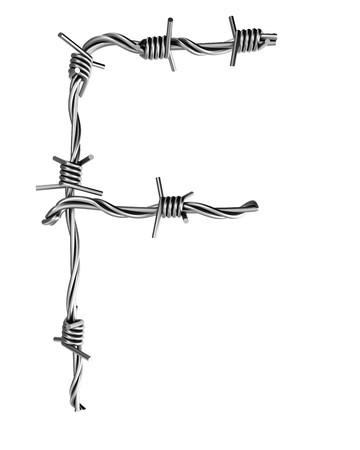 Barbed wire alphabet, F  Banco de Imagens