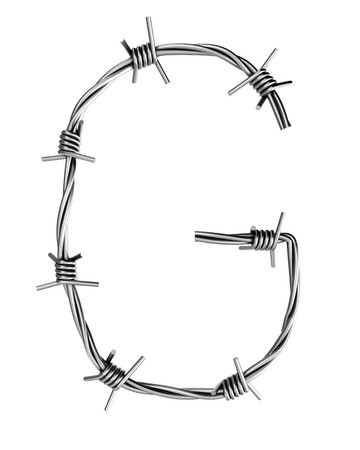 cattle wire wire: Barbed wire alphabet, G  Stock Photo