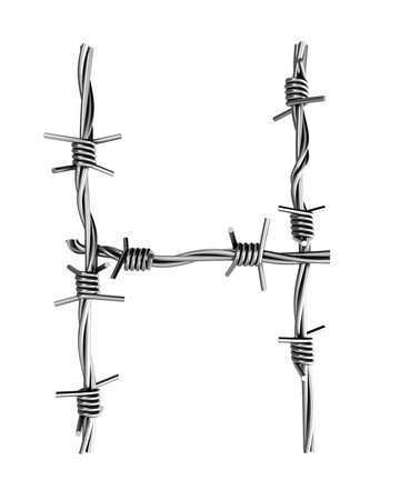 Barbed wire alphabet, H Stock Photo - 7736671