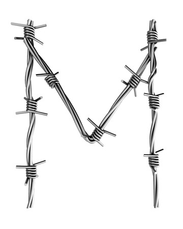 Barbed wire alphabet, M Stock Photo - 7736722