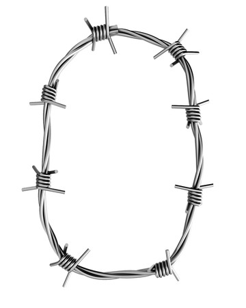 cattle wire wire: Barbed wire alphabet, O