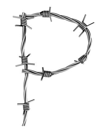 Barbed wire alphabet, P  Stock Photo - 7736667