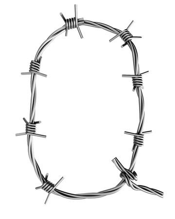 Barbed wire alphabet, Q Stock Photo - 7736699