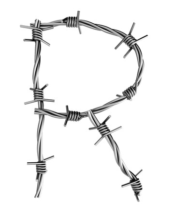cattle wire: Barbed wire alphabet, R  Stock Photo