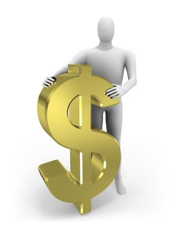 3d man embraces dollar figure  Stock Photo