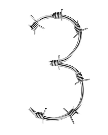cattle wire: Barbed wire alphabet, 3 Stock Photo