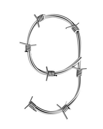 cattle wire wires: Barbed wire alphabet, 9