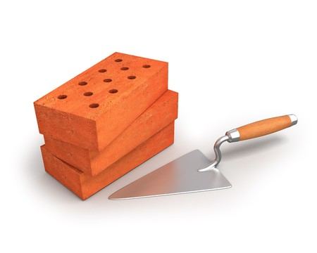 Bricks and trowel Stock Photo - 8043096