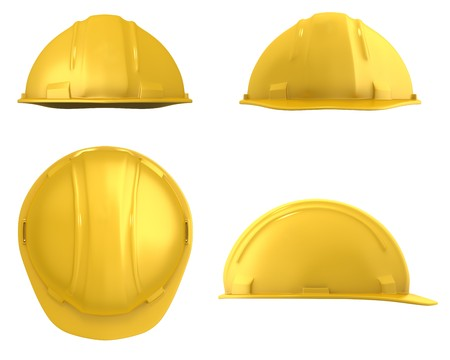 Yellow builders helmet four views