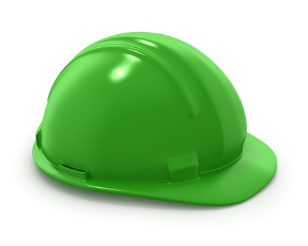 Green builders helmet isolated on white background