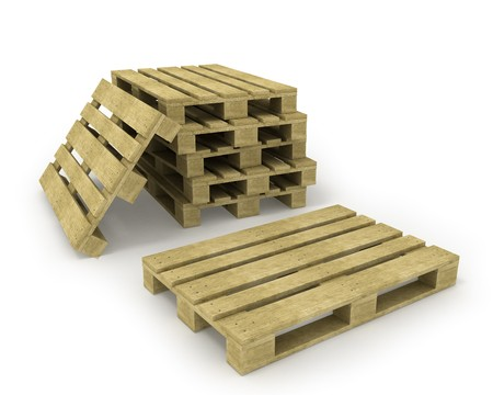 Wooden pallet and stack of pallets isolated on white