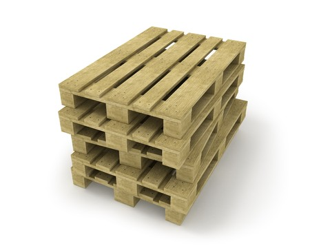 Stack of pallets isolated on white  photo