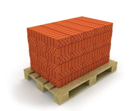 Stack of orange bricks on pallet, isolated on white Stock Photo - 8239783