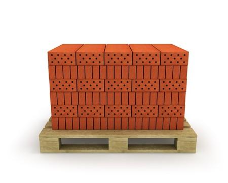 brick clay: Stack of orange bricks on pallet, isolated on white