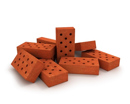 Heap of orange bricks isolated on white Stock Photo - 8239817